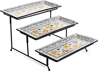 3 Tier Rectangular Serving Platter, Three Tiered Cake Tray Stand, Food Server Display Plate Rack, Black Wire (Multi Color)