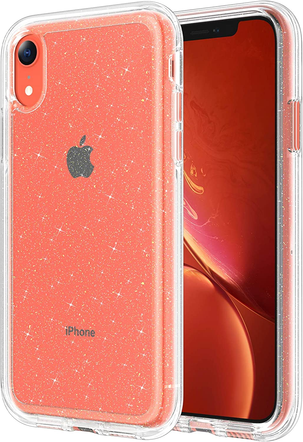 Maxdara for iPhone XR Glitter Case, iPhone XR Clear Case Women Girls Bling Sparkle Shockproof Protective Cover Thin Slim Crystal Glitter Clear Case for iPhone XR, Glitter Clear