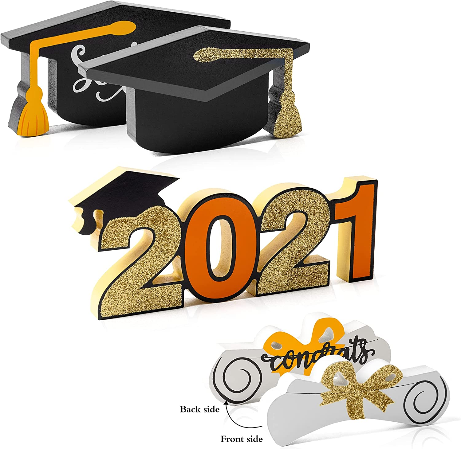 WATINC 3pcs Graduation Double-Sided Print Wooden Table Decoration, Freestanding Class of 2021 Centerpiece Sign for Congratulation Party, Black Gold Glitter Tiered Tray Decoration for Grad Party Favors