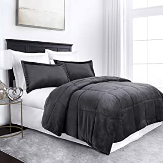 Sleep Restoration Micromink Goose Down Alternative Comforter Set - All Season Hotel Quality Luxury Hypoallergenic Comforter/Blanket with Shams - Full/Queen - Gray