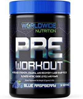 Worldwide Nutrition Pre Workout Powder - Sports Performance Booster Supplement - Sharper Focus, Increased Energy, Muscle P...