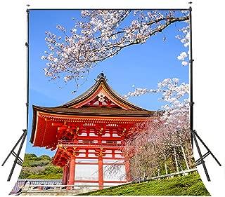 LYLYCTY 5X7 Views Backdrop Japan City Backdrop Japanese Cherry Blossoms Photography Background PB409