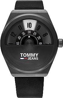 Tommy Hilfiger Men'S Black Dial Black Leather Watch - 1791773