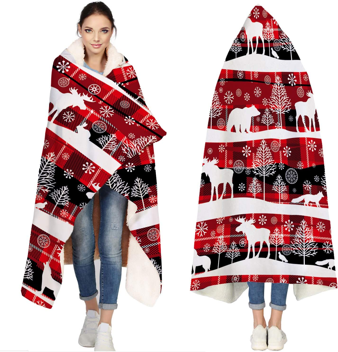 Max 48% OFF Hooded Blanket Throw Wearable Cuddle Sales Winter Christmas Animals De