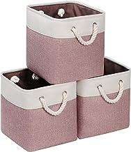 Syeeiex Small Storage Cubes 10.5'' X 10.5'' X 11''Cube Storage Bins with Cotton Rope Handles Cube Storage Organizer Bins f...