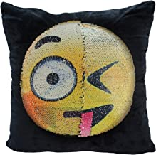 Reversible Sequin Pillow Case, USONG Emoji Changeable Face Cushion Cover Pillow Cases Decorative Pillowcase 16x16 for Sofa Home Decor DIY (Dull and Naughty)