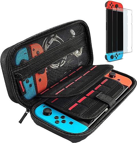 Hestia Goods Switch Étui Dure et Protecteur d'écran trempé pour Nintendo Switch-20 Étuis pour Cartes de Jeu avec 2 pr...