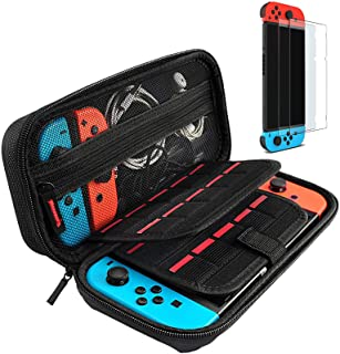 Hestia Goods case Compatible for Nintendo switch Hard Carry case and Tempered screen protector - 20 Game Cartridge Travel ...