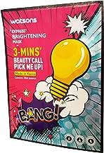 2 Mask Sheets of Watsons Express, Brightening Mask. 3 - Mins' Beauty Call Pick Me Up!. Colourant free, Alcohol free, Paraben free. (10 ml. essence/sheet)