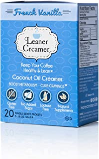Leaner Creamer, Non-Dairy Coffee Creamer French Vanilla – Sugar Free, Unsweetened, Low Calorie, Coconut Oil, Keto, Gluten Free, Healthy Weight Loss, Fat Burning - 20 Count Singles (FRENCH VANILLA)