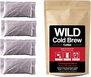 Cold Brew Coffee Kit, Brew-At-Home Coffee made with Organic Ground Wild Coffee, Fair trade, Single-origin, Small Batch, Hand Made (Lumberjack Blend, 10 Pouch)