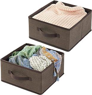 mDesign panier de rangement en fibre synthétique (lot de 2) – corbeille de rangement pour l'armoire – boite en tissu avec ...