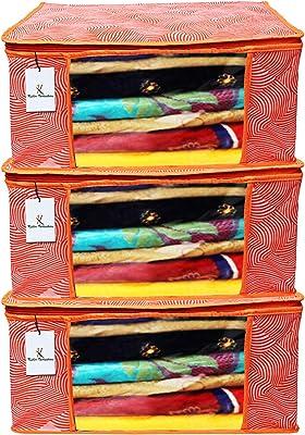 Kuber Industries Leheriya Design 3 Piece Non Woven Saree Cover, Large, Orange - CTKTC15185