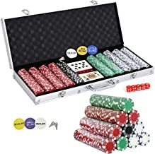 Smartxchoices 500 Poker Chip Set 11.5 Gram Dice Style Clay Casino Poker Chips w/Aluminum..