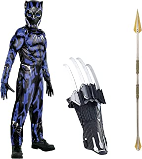Black Panther Deluxe Muscle Costume with Props for Children, Size Medium, Includes Okoye Spear and Slash Claw