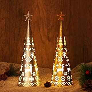 Juegoal 11.6 Inch Lighted Christmas Table Decorations with Star, Cone Shaped 10 LED Lights Battery Operated, Indoor Xmas H...