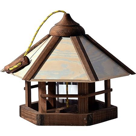 Vogelhäuschen Vogelhaus mit Gauben Nr16 Dach rot und Bügel zum aufhängen von Vogelhaus Vogelvilla und Vogelhäusern Nistkasten rostfrei Vogelfutterhaus mit Futtersilo Silo Vogelhäuschen hängen feuerverzinkt und pulverbeschichtet Futterhaus hängend