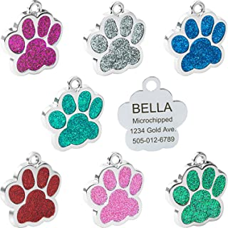 Vcalabashor Dog Cat Tags/Stainless Steel Pet ID Tags/Glitter Paw Print/Fits Small Medium Large Dogs