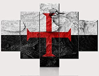 Red Cross Templar Knight Flag Prints Decoration for Living Room Black and White Background Painting Simply Style Contemporary Artwork Framed Ready to Hang Modern House Decor 5 panel(60''W x 40''H)