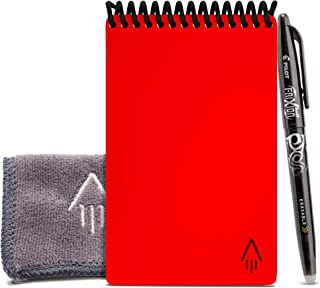Rocketbook Smart Reusable Notebook - Dotted Grid Eco-Friendly Notebook with 1 Pilot Frixion Pen & 1 Microfiber Cloth Included - Atomic Red Cover, Mini Size (3.5