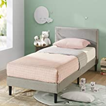 Zinus Nelly Classic Home Single Bed Frame Fabric Upholstered Platform - Light Grey