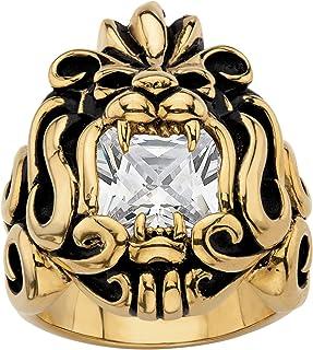 بالم بيتش مجوهرات الرجال الأصفر الذهب ايون مطلي الفولاذ المقاوم للصدأ العتيقة ساحة قطع مكعب زركونيا رأس الأسد الدائري