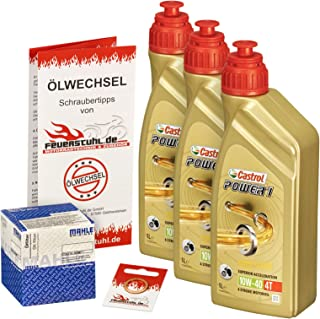 Castrol 10W 40 Öl + Mahle Ölfilter für Suzuki GS 500 /E/F, 79 08, GM51A GM51B BK   Ölwechselset inkl. Motoröl, Filter, Dichtring
