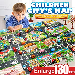 Children's Day Gift Toy Kids Play Mat City Road Buildings Parking Map Cool Toys Game Family Activities Scene Map Educational Toys (As Show)
