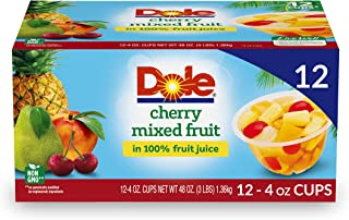 Dole Fruit Bowls, Cherry Mixed Fruit in 100% Fruit Juice, 12 Count, 4 Ounce Cups