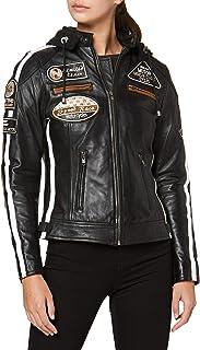 Urban GoCo Chaqueta Moto Mujer de Cuero Urban Leather '58 LADIES', Chaqueta Cuero Mujer, Cazadora Moto de Piel de Cordero,...