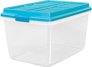 Hefty 72-Qt Hi-Rise Clear Latch Box, Teal Sachet Lid and Handles (1)