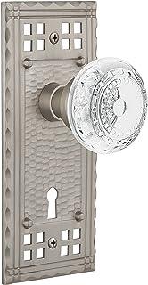 "Nostalgic Warehouse 753411 Craftsman Plate Privacy With Keyhole Crystal Meadows Door Knob, Backset Size: 2.375"", Satin Nickel"