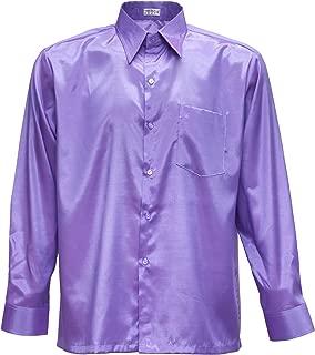 Azul Marino Medium Tashisun Camiseta para Hombre de Manga Larga de Seda tailandesa Azul Marino