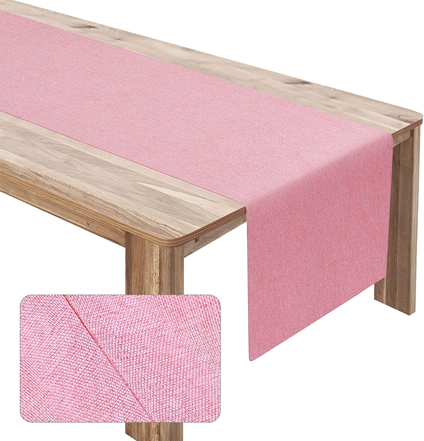 Ruisita Linen Table Runner Natural Fabric Modern Cotton Table Runners Pure Color Long Machine Washable Table Flag for Christmas Party Festival Decor (Pink)