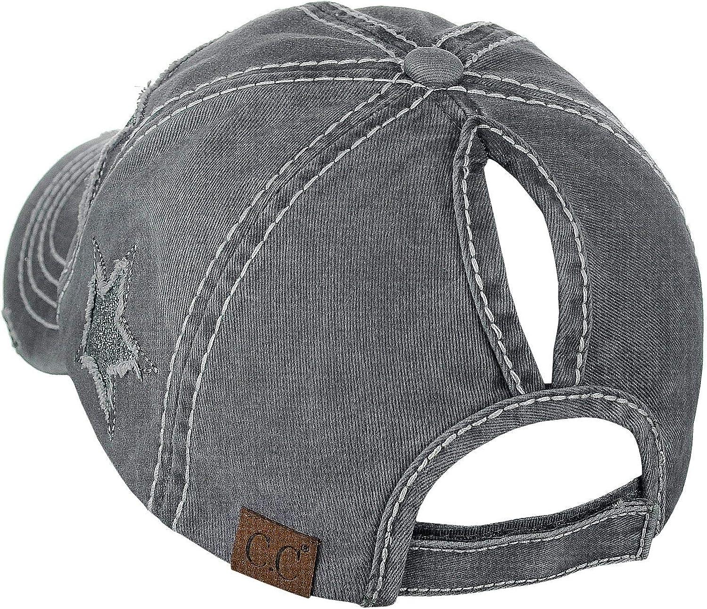 C.C Ponycap Messy High Bun Ponytail Adjustable Glitter Star Distressed Baseball Cap Hat
