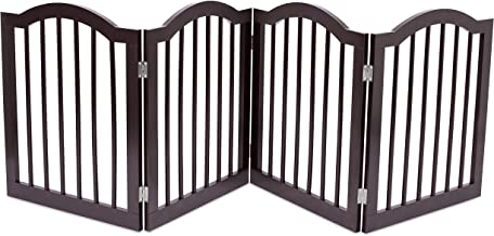 Internet's Best Pet Gate with Arched Top - 4 Panel - 24 Inch Step Over Fence - Free Standing Folding Z Shape Indoor Doorway Hall Stairs Dog Puppy Gate - Fully Assembled - Espresso - MDF