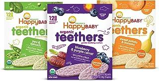 Happy Baby Organic Teethers Gentle Teething Wafers 3 Flavor Sampler Bundle: (1) Pea & Spinach Teething Wafers, (1) Sweet P...