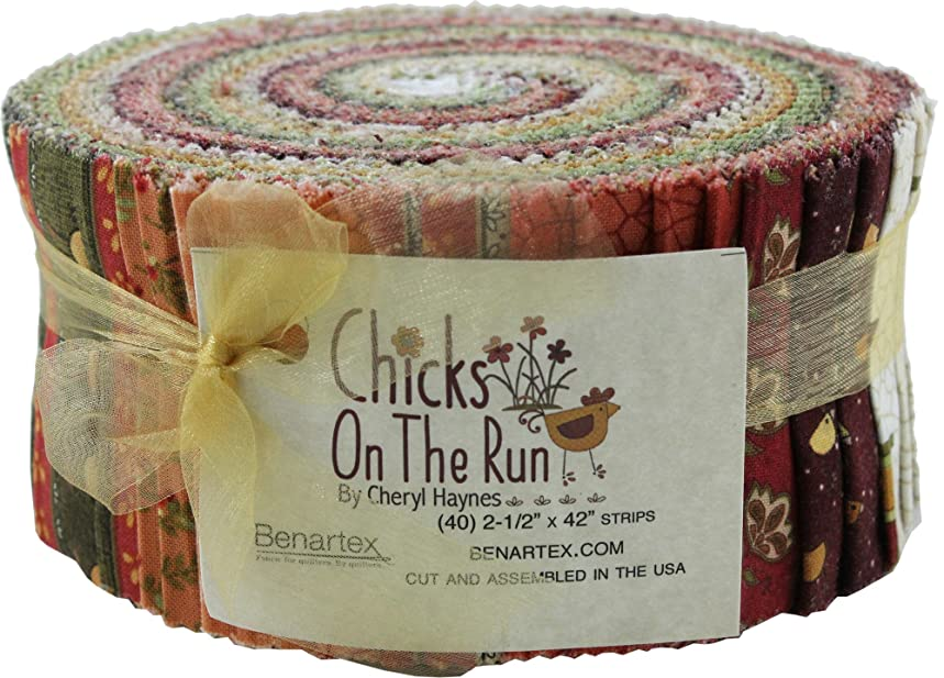 Cheryl Haynes Chicks on the Run Pinwheel 40 2.5-inch Strips Jelly Roll Benartex, Assorted