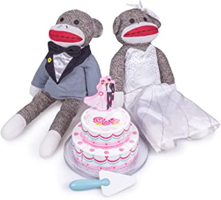 Sock Monkey Family Wedding Bundle | Includes Two-tiered Wedding Cake with Bride and Groom Soft Stuffed Animals | Polyester Fiber Plush Dolls and Wooden Pretend Play Food Cake | Childrens Play Toys