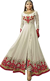 a183f8ec26 MarutiSai Creation Women's Georgette Embroidered Semi-stitched Salwar Suit  with Dupatta (White, Free