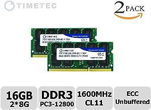 Timetec (79TT16EUSL2R8-8G) 16GB KIT (2x8GB) DDR3L 1600MHz (PC3-12800) Unbuffered ECC 1.35V CL11 2Rx8 512x8 Dual Rank 204 Pin SODIMM Server Memory Module Upgrade Hynix IC (16GB KIT (2x8GB))