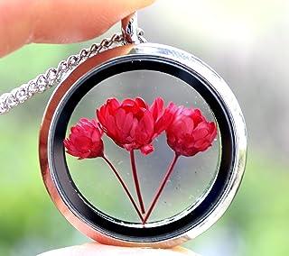 Collana con ciondolo a forma di fiore essiccato a forma di fiore rotondo