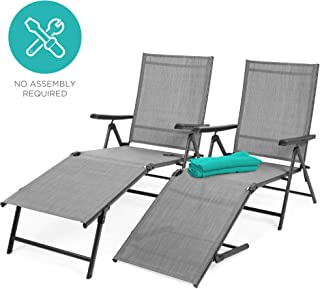 Best Choice Products Set of 2 Outdoor Adjustable Folding Steel Textiline Chaise Reclining Lounge Chairs w/ 6 Back & 2 Leg Positions - Gray