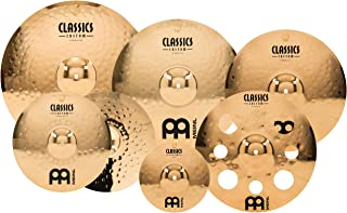 """Meinl Cymbals Cymbal Set Box Pack with 14"""" Hihats, 20"""" Ride, 18, Plus a Free 16"""" Trash Crash and 10"""" Splash – Classics Custom Double Bonus – Made in Germany, Two Year Warranty, inch (CC4680-DB)"""