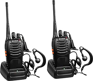 Arcshell Rechargeable Long Range Two-Way Radios with Earpiece 2 Pack UHF 400.025-469.975Mhz Walkie Talkies Li-ion Battery and Charger Included