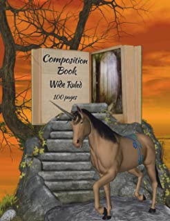 """Composition Book: Fantasy unicorn-haunted woods design, wide ruled school notebook, 100 pages, 7.44""""x9.69"""""""