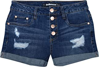dollhouse Women's High Waisted Denim Shorts with Exposed Buttons