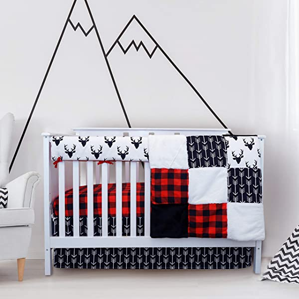 Crib Bedding Sets For Boys 4 Piece Woodland Set For Baby Boy Rustic Nursery Decor Quilt Blanket Crib Sheet Skirt And Rail Cover Deer Antler Arrow Buffalo Plaid Woodland Deer