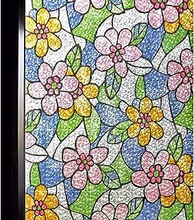 DUOFIRE 窓 めかくしシート 窓ガラス 目隠しシート 窓用フィルム 窓ガラスフィルム ステンドグラス シール はがせる 断熱 遮光 結露防止 紫外線UVカット 飛散防止 水で貼る 貼り直し可能 おしゃれ結晶の花 (0.9M X 2M) D87-Y055