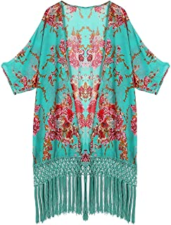 Honeystore Women's Sheer Floral Kimono Cover Ups Tassels Crochet Beach Swimsuit